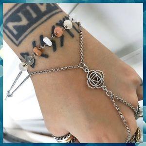 Peach & white moonstone hand chakra bracelet